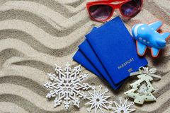 Christmas vacation on a beach resort stock images