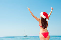 Christmas vacation on a beach resort. Stock Photo