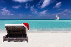 Christmas vacation concept on a tropical beach stock image