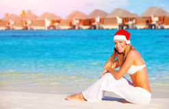 Christmas vacation on Maldives Stock Photos