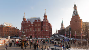 Christmas vacation at the Manege Square, Moscow Royalty Free Stock Photography