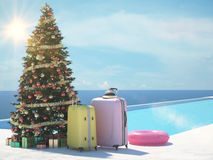 Christmas vacation at the pool. 3d rendering. A different Christmas, we change the snow and cold. 3d rendering Royalty Free Stock Image