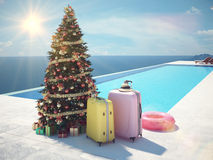 Christmas vacation at the pool. 3d rendering. A different Christmas, we change the snow and cold. 3d rendering royalty free illustration