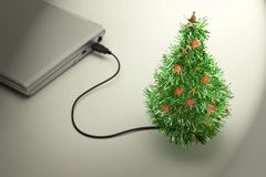Christmas Vacation. USB Christmas tree . Royalty Free Stock Image