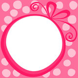 Circular Border Gift Christmas Card. Christmas or valentines day card or tag with a circular pink gift forming a border Royalty Free Stock Image