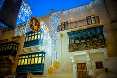 Christmas in Valletta - Malta. Holiday decoration on the city st Royalty Free Stock Images