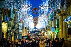 Christmas in Valletta - Malta. Holiday decoration on the city st Stock Photo