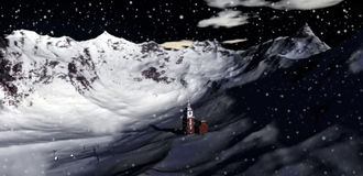 Christmas valley scenic. Illustration of snow falling over remote mountainous valley with small church, Christmas scene Royalty Free Stock Photography