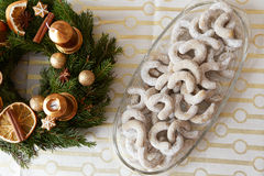 Christmas vanilla rolls with sugar Stock Image