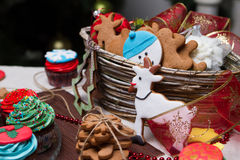 Christmas various gingerbread cookies, cakes, cupcakes. Stock Image