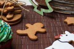 Christmas various gingerbread cookies, cakes, cupcakes. Stock Photography