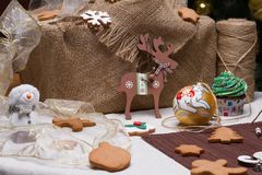 Christmas various gingerbread cookies, cakes, cupcakes. Royalty Free Stock Photo
