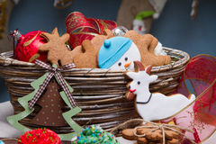 Christmas various gingerbread cookies, cakes, cupcakes. Christmas various gingerbread Christmas decoration with food, cakes, cupcakes, confection. Christmas stock image