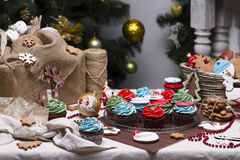 Christmas various gingerbread cookies, cakes, Stock Image