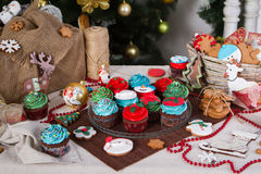 Christmas various gingerbread cookies, cakes, Royalty Free Stock Photos