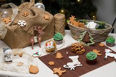 Christmas various gingerbread cookies, cakes, Royalty Free Stock Images