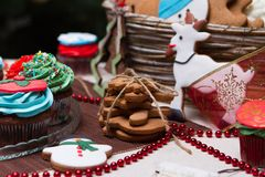 Christmas various gingerbread cookies, cakes, Stock Photography