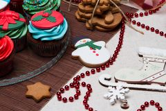 Christmas various gingerbread cookies, cakes, Royalty Free Stock Photography