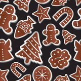 Christmas various gingerbread symbols seamless pattern Stock Images