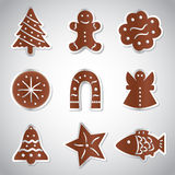 Christmas various gingerbread symbols set Royalty Free Stock Images