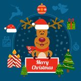 Christmas vecror illustration with New Year holiday elements on a dark blue background Stock Photo