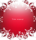 Christmas Vector. Snow on red background with light Stock Photo