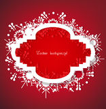 Christmas Vector. Snow on red background with light Stock Photos
