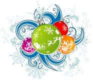 Christmas vector background with baubles Royalty Free Stock Image