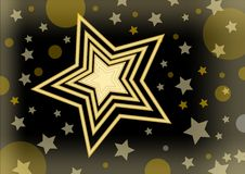 Christmas vector background with a bright star in the middle of small stars and glare Stock Image