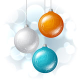 Christmas vector background with brilliant glossy Royalty Free Stock Image