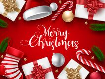Free Christmas Vector Background Design. Merry Christmas Typography Text In Red Background With Gifts, Candy Cane And Sock Decor. Royalty Free Stock Photography - 203936507