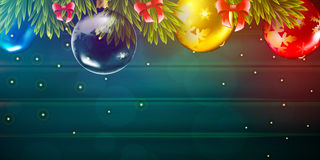 Christmas vector background with fir tree branch and color bulbs on wooden background. Winter New 2017 Year holidays celebration illustration flyer and postcard Stock Images