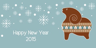 Christmas vector background with gingerbread sheep. Christmas vector background with a flat gingerbread sheep. New Year 2015 Royalty Free Stock Photo