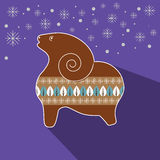 Christmas vector background with gingerbread sheep. Christmas vector background with a flat gingerbread sheep. New Year 2015 Stock Image