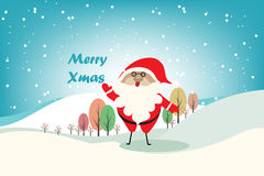 Christmas vector background with Santa Claus and different color tree. Royalty Free Stock Photography