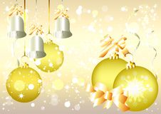 Christmas vector  background, silver bells, golden Stock Photo