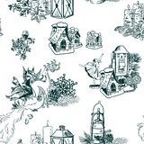 Christmas vector background sketch set engraving stock photography