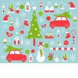 Christmas vector background with snowman and Christmas tre Royalty Free Stock Photo