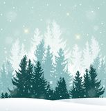 Winter snowy landscape with fir tree. Christmas vector background with winter snowy landscape. New Year greeting card with fir tree Royalty Free Stock Photos