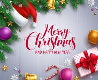 Christmas vector banner and background template with merry christmas greeting royalty free illustration