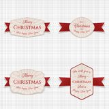 Christmas vector Banners, Labels or Tags Set. On white textile Background Royalty Free Stock Image