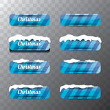 Christmas vector blue glossy glass buttons set Stock Photography