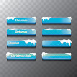 Christmas vector blue glossy glass buttons set Royalty Free Stock Photos