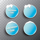 Christmas vector blue glossy glass buttons set Royalty Free Stock Image