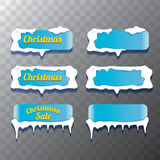 Christmas vector blue glossy glass buttons set Stock Photo