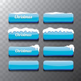 Christmas vector blue glossy glass buttons set Stock Image