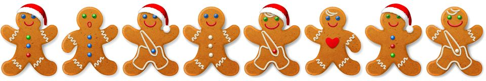 Free Christmas Vector Border And Ornament From Gingerbreads Mans -- Sweet Cookies Royalty Free Stock Images - 133624349
