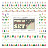 Christmas vector brushes. Set includes eighteen brushes. Stock Photography