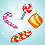 Christmas vector candy set. Colorful wrapped sweet, lollipop, cane. Stock Image