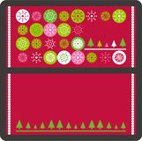 Christmas vector card. Christmas greeting card cover and back with green, white, pink snowflakes, Christmas trees and copy space in vector format on red Stock Photo